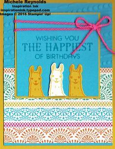 Splitcoaststampers FOOGallery - Birthday Fiesta Llama Wishes Doughnut Shop, Honey Bee Stamps, Stampin Up Catalog, Alpacas, Animal Cards, Handmade Birthday Cards, Paper Pumpkin, Embossing Folder, Kids Cards