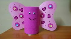 Butterfly pen stand made from empty tin box