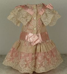 Wonderful Antique French Valenciennes Lace Bebe Dress for JUMEAU, BRU, or other French Bebe Doll