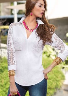 CAMISERO EN LINO Pretty Dresses, Beautiful Dresses, Western Tops, Casual Outfits, Fashion Outfits, Beautiful Blouses, White Shirts, Casual Street Style, Dress Patterns