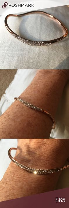"""REDUCED!!✨ NWT Alexis Bittar Plated Crystal Bangle Gorgeous Alexis Bittar Bangle! ✨ Rose-gold plated brass with faceted Swarovski crystals; will comfortably fit a 6.5-7.5"""" wrist. Still in bag 😁 Alexis Bittar Jewelry Bracelets"""