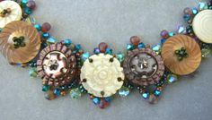Front side of beaded button bracelet