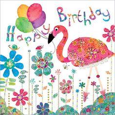 Artist Lorraine Duff created Pink Flamingo Happy Birthday for Happy Birthday Mädchen, Flamingo Happy Birthday, Birthday Girl Quotes, Birthday Pins, Happy Birthday Messages, Happy Birthday Images, Happy Birthday Greetings, Birthday Pictures, Birthday Wishes