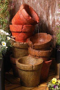 Fontaine Pots Empilés avec Lumières