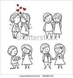 Hand drawing cartoon set of couple in love, wedding illustration, Vector line art couple.