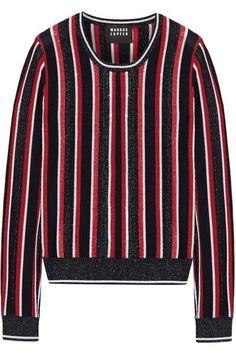 MARKUS LUPFER Grace Embellished Striped Metallic Merino Wool-Blend Sweater. #markuslupfer #cloth #knitwear