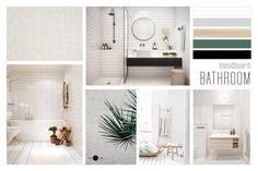 BLOG . moodboard bathroom by VIERPUNTTIEN Minimalistic bathroom with black, green en wooden details.