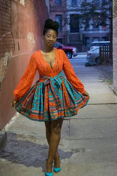 African dress, Ankara dress, African print, Lace bodice, cotton, African clothing, African party dress, plunging neckline, sexy, lowcut Nana