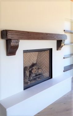 Custom Reclaimed Wood Mantel with matching corbels and shelving in Rustic Walnut finish Reclaimed Wood Mantel, Wood Fireplace Mantel, Wood Mantels, Home Fireplace, Rustic Wood, Fireplaces, Mantles, Fireplace Ideas, Faux Beams