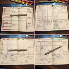 The evolution of my weekly spread. Went from vertical to horizontal. Went without the separation in each day and hated it, so I went back to it... lol figuring it out week by week