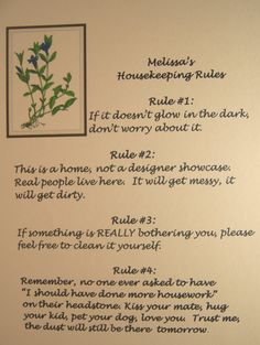 Housekeeping Rules Poster Periwinkle Quote by FireOfLife on Etsy, $4.00