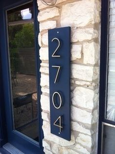 Paint a board to match my shutters and front door and put house numbers on top! Paint a board to match my shutters and front door and put house numbers on top! Exterior Front Doors, House Paint Exterior, Exterior Siding, Exterior Paint Colors, Exterior House Colors, Paint Colors For Home, Paint Colours, Exterior Signage, Exterior Lighting