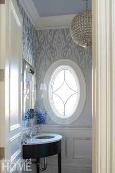 Wallpapered Upper Powder Room Walls - Design photos, ideas and inspiration. Amazing gallery of interior design and decorating ideas of Wallpapered Upper Powder Room Walls in bathrooms by elite interior designers. Interior Exterior, Home Interior, Interior Design, Interior Colors, Bathroom Wallpaper, Of Wallpaper, Powder Room Wallpaper, Silver Wallpaper, Home Design