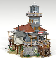 "From OG pinner-""The Lighthouse My story For this modular (creator) building was that the The Lighthouse is based for a creation to fit in the Sea front Village. I built this one on Lego Dig."