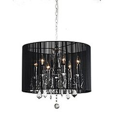Brighten your home decor with an elegant chandelier  Lighting fixture showcases an elegant black shade  Chandelier features dripping clear crystal accents