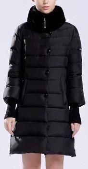 Rabbit-Fur Collar Knit Cuffed Paneled Puffer Down Coat in Black