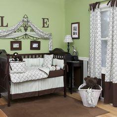Sage Damask Crib Bedding | Baby Boy Crib Bedding in Green and Brown Damask | Carousel Designs 500x500 image