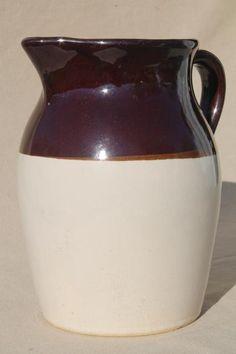 old stoneware milk pitcher, unmarked vintage brown band pottery jug