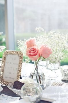 Pink-Rose-Babys-Breath-Centerpiece