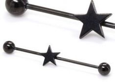 Showcase your love of the night with this 1 black star barbell. This industrial barbell features a star in the center of the barbell. The barbell is secured in place by two stainless steel balls. A high quality PVD coating g Industrial Earrings, Industrial Piercing Jewelry, Industrial Barbell, Industrial Bars, Star Jewelry, Body Jewelry, Jewellery, Painful Pleasures, Barbell Piercing