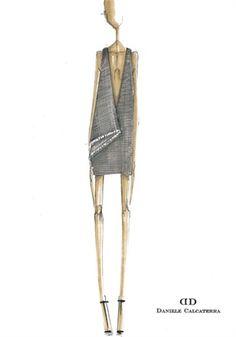 Fashion illustration - fashion sketch for Daniele Calcaterra