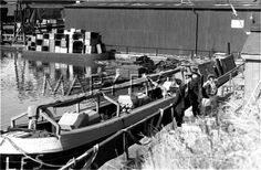 """Caption: """"Fireboat being completed during WW2. Boat thought to be named PISCES"""" #london #canal #fire #boat #narrowboat #wartime #war #barge #regents #pisces #ww2"""