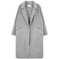 Oversized Snap-Front Coat (1.200 ARS) ❤ liked on Polyvore featuring outerwear, coats, jackets, clothes - outerwear, long sleeve coat, bunny coat and oversized coat