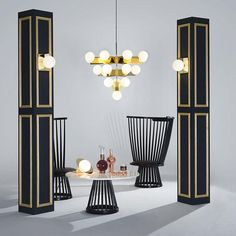 Plane Wall & Chandelier by Tom DIxon Tom Dixon, Campari Bar, Design House Stockholm, Paris Design, Art Deco Stil, High Back Chairs, Metal Chairs, Black Chairs, Shop Interior Design