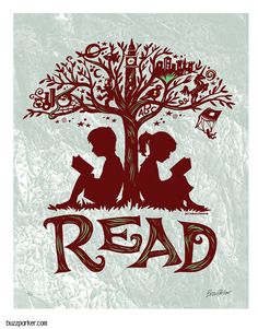 Items similar to Reading Tree - Art Print, Every Book An Adventure, Literature Getaway Read Escape Fiction on Etsy Reading Tree, I Love Reading, Reading Nook, Reading Display, Little Free Libraries, Little Library, I Love Books, Good Books, School Murals