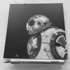 A personal favorite from my Etsy shop https://www.etsy.com/listing/277175336/bb-8-scratchboard-artwork-6x6
