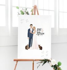 Our couple portrait wedding guest book alternative goes beyond the traditional guest book. This custom work of art features illustrations of the couple, created