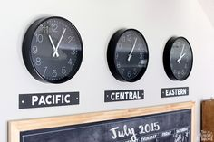 Learn how to create DIY time zone clocks to add to your family command center. Such a cute and simple project by Jen Woodhouse of The House of Wood.