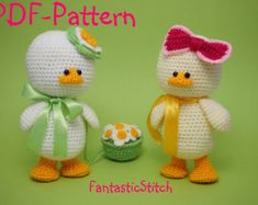 Crochet pattern easter duck amigurumi flower instant downdload pdf 24 pages