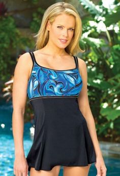 A swimsuit which looks like a little sundress.