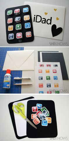 Easy Creative DIY Father's Day Card Ideas | iDad Card Idea by DIY Ready at http://diyready.com/21-diy-fathers-day-cards/