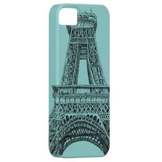 Seafoam Paris Eiffel Tower Drawing iPhone5 iPhone 5 Cover
