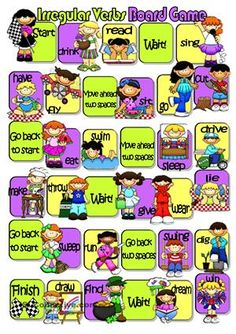 Irregular Verbs Board Game - ESL worksheets