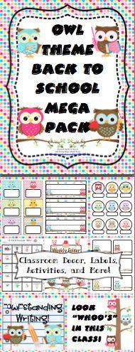 Owl Theme Back to School Mega Pack- Make this school year a hoot with this mega… Owl Classroom Decor, Classroom Design, Future Classroom, Classroom Themes, Classroom Organization, Owl School, School Themes, School Ideas, Kindergarten Rocks