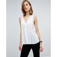 ASOS Sleeveless Blouse with V Front (40 CAD) ❤ liked on Polyvore featuring tops, blouses, white, sleeveless v neck blouse, white sheer top, sleeveless tops, white v neck blouse and v neck blouse