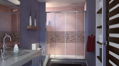 Looking for a Unique Shower Entry? The DreamLine Visions Shower Door offers breathtaking style for your shower area. Coastal Shower Doors, Bathroom Shower Doors, Glass Shower Doors, Master Shower, Glass Bathroom, Bathroom Ideas, Home Depot, Dreamline Shower, Frameless Sliding Shower Doors