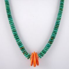 Beaded Heishi Necklace by Cheryl Yestewa, Navajo/Hopi.  Fox mine turquoise and orange spiny oyster shell,