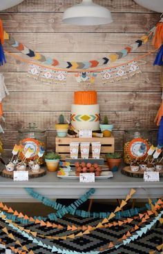 8 Trendy and Unique Baby Shower Themes - Little warrior, modern Aztec, tribal, whatever you like to call it, it's oh so cute! Deck out you - Boho Baby Shower, Gender Neutral Baby Shower, Baby Boy Shower, Baby Showers, Man Shower, Arrow Baby Shower, Bridal Showers, Anniversaire Cow-boy, Unique Baby Shower Themes
