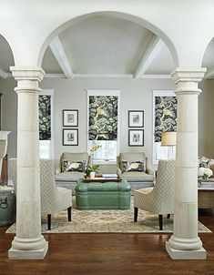 white decorative columns in living room