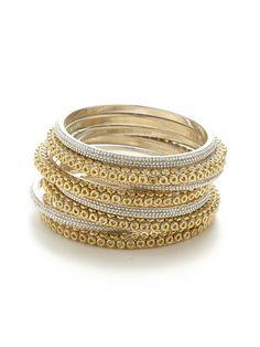 Set of 8 Gold & Silver Bangle Bracelets by Chamak by Priya Kakkar at Gilt