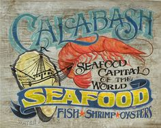 Calabash Seafood   Print with MAT 11 by 14 by ZekesAntiqueSigns