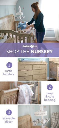 Here's a little #nursery inspo! The Cosi Bella Delfino crib and dresser in farmhouse pine create a rustic backdrop for Levtex Baby's Jungalo bedding and décor (who doesn't love a spinning elephant mobile). You can even put a #woodland spin on the theme with extras such as a fox plush and lamp (not shown). Shop the whole room—you may just find the perfect makings of dream nursery to welcome your baby! #nurseryideas Levtex Baby, Elephant Mobile, Cute Bedding, Nursery Décor, Rustic Backdrop, Babies R Us, Toys R Us, Rustic Furniture, Baby Baby