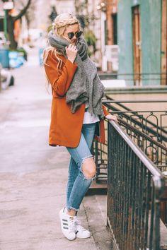 Burnt Orange H&M blazer, destroyed cropped jeans, adidas, white T and Aldo sunglasses