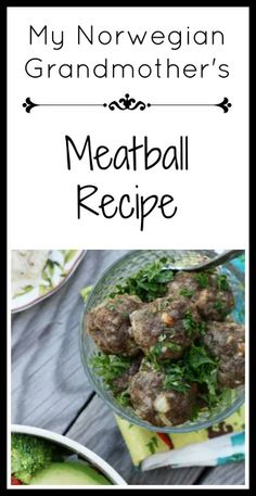 My Norwegian grandmother's meatball recipe: Get the recipe for this simple recipe that my family has been enjoying for DECADES! Meatball Recipes, Meat Recipes, Vegetarian Recipes, Snack Recipes, Healthy Recipes, Vegetarian Barbecue, Barbecue Recipes, Vegetarian Cooking, Snacks