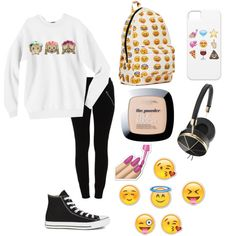 Emojis lover by hellofashion22 on Polyvore featuring polyvore, fashion, style, VILA, Converse and Frends