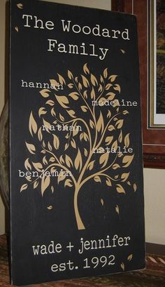 Family Tree Wall Art - Love this idea for a housewarming gift